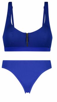 Blauwe bikini met bovenkant uit één stuk