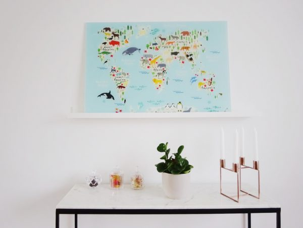 wereldkaart in interieur