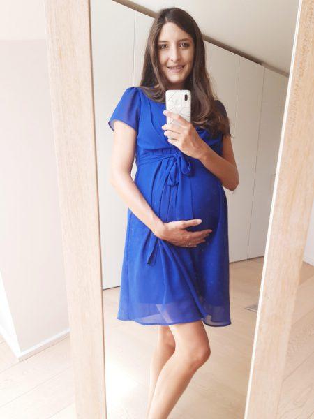 Zwangerschapskleedje blauw