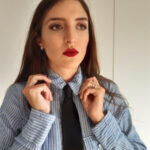 Stropdas dames gestreepte blouse